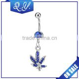 NB0205 Blue Crystal Maple infinity jewelry belly button piercing navel ring