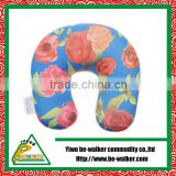 Beads Filled U Neck Pillow,Flower Printing Vibrating Travel Neck Pillow