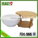Food use and Eco-Friendly Feature ceramic salad bowl with bamboo shelf food storage bowl 2015 HOT SELLING salad bowl