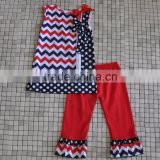 2016 wholesale toddler girls chevron star polka dot child sleeveless 4th of July boutique sets