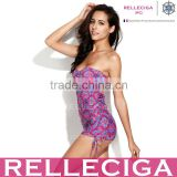 RELLECIGA 2014 New Convertible Skimpy Dress Sex Sex Bikini One Piece Swimsuit in Digital Printed Purple Paisley Pattern