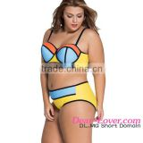 tamanna xxx bikini girl swimwear photos Yellow Blue Vibrant Colorblock plus size slingshot bikini