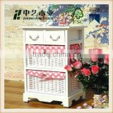 Hot sale China supplier Chinese antique furniture wood white cabinet with drawers and bakets