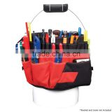 Durable 600D oxford 42 Pocket Bucket Tool Tote bag , Black and Red