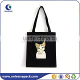 black muslin cotton shopping bag wth custom printing                                                                                                         Supplier's Choice
