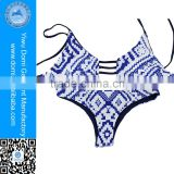 Latest fahion hot super printed swimwear invertible stripes sexy mature bikini