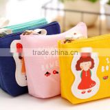 fashion cuostomized canvas Zipper cotton little girls printing wallet fancy promotional gift lassock printed euro coin purse