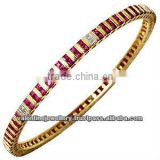 Diamond and ruby bangle bracelet in gold, Yellow gold gemstone bangles, Designer bangle in 18k gold