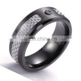 8mm Black Zirconium Ring With 5mm Grey Carbon Fiber Inlay
