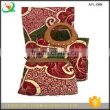 African wax prints fabric with big waxed handbag set for women