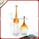 Cheap Handmade Tall Glass Art Vase Ornaments Green & Amber Glass Crafts Home Furnishing Accessories
