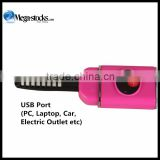Beauty USB Rechargable Electric Mini Portable Heated Hot Brush Eyelash Curler Red green white
