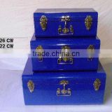 Blue powder coated Iron storage trunks available in other colours
