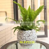Beautiful white wicker flower basket & indoor decoration basket & cheap flower pot