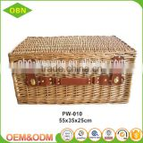 Wholesale premium handmade natural rectangular empty wicker traditional gift hamper basket with lid