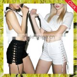 Sexy women lace up jeans shorts black white super short denim ladies cut out shorts with side bandage