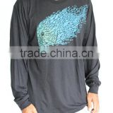 Gray 100% Combed Cotton Men's Long Sleeve Tee OEM Loose Fit T Shirt Water Based ink Printed T-Shirt Wholesale