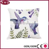 lover bird colorful fancy painting natural mixed linen pillow cover