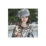 Fashion Rose Ladies Wool Felt Hats With Flower Stones Trim  for Party In Winter