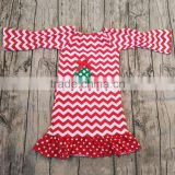 Christmas Outfits for Baby Girls Frock Design Chevron Print Dress Wholesale Xmas Tree Pattern Cute Clothes Hot Selling Boutique