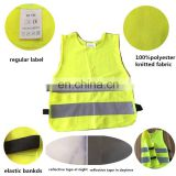 100%polyester pull-over reflective kid vest for outdoor activities