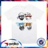 High quality sublimation printed white t-shirt