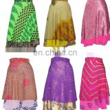 silk sari ladies magic wrap skirt , indian silk sari magic wrap skirts , reversible two layer silk wrap skirt