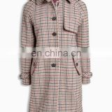 China Clothing Manufacturer Single-Breasted Tartan Wholesale Woolen Women Winter Coat