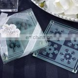 Snowflake Two Tone Coasters in Clear Gift Box