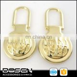 Hnager Bright Gold tone Plating metal garment accessory zipper pulls/slider wholesale for handbag labels and famous brands