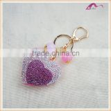 Custom Handmade Crystal Heart Leather Keychain For Gifts                                                                         Quality Choice
