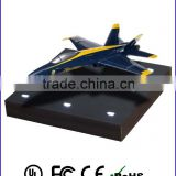 Anti gravity display for blue and yellow aircraft , customized airplane model for souvenir