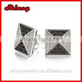 Fathers Day Gift Micro Pave Black White Pyramid CZ Mens Stud Earrings 925 Silver