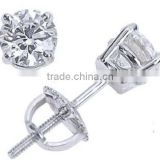 2015 New Hot Sales Fashion Wholesale round diamond 14K white gold stud earring                                                                         Quality Choice