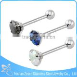 surgical steel straight barbell piercing fashion unique diamond tongue ring