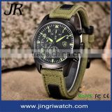 new arrive men's Sport watch with Velcro strap IP black case waterproof stainless steel back