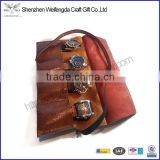 Brown leather watch roll travel handmade pouch