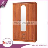 China suppiler bedroom furniture design cheap modern 3 door wooden bedroom wall wardrobe