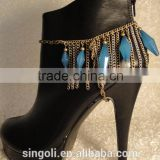 Must have!! Fan fring chains tassel blue bead boot and shoe jewelry