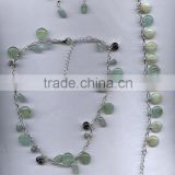 Hot seller necklace aquamarine round flat necklace with bracelet and earring