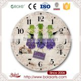 Unique mdf material old cottage and lavender pattern room gif wall clock for flower shop