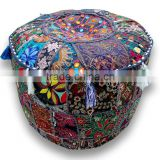 Cotton Multi Pouf, Round Patchwork Embroidered Ottoman Pouf Cover indian Beaded Ottoman Pouf Cover