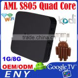 Factory supply Amlogic S805 Quad core kodi 802.11b/g/n wifi smart Google Android TV box internet tv receiver box S805 MXQ tv box