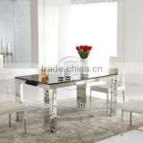 Large Black Rectangular Pattern Stone Top Dining Tables,Dining Room Table L862