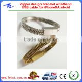 Zipper Design Bracelet Wristband USB Sync Charging Cable for iPhone5/6 and Android Smartphones