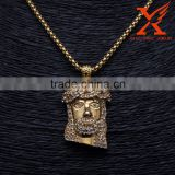 Hip Hop Stainless Steel 316L Male Jewelry 14K Gold Plating Jesus Face Head Pendant                                                                         Quality Choice