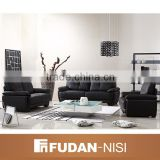 Luxury Italian living room furniture black leather sectional sofa prices