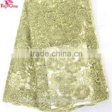 wholesale gold african lace fabric/tulle lace with beads sequins/bridal lace fabric wholesale
