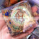 Orgone Chakra Stones Flower of Life Chakra Pyramid With Charge Crystal Point | Orgonite for sale