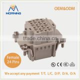 ME-HDD-024-FC, Copper Alloy Material Industrial 24 Pins Current 10A Voltage 250V Heavy Duty Socket, Female Crimp Terminal